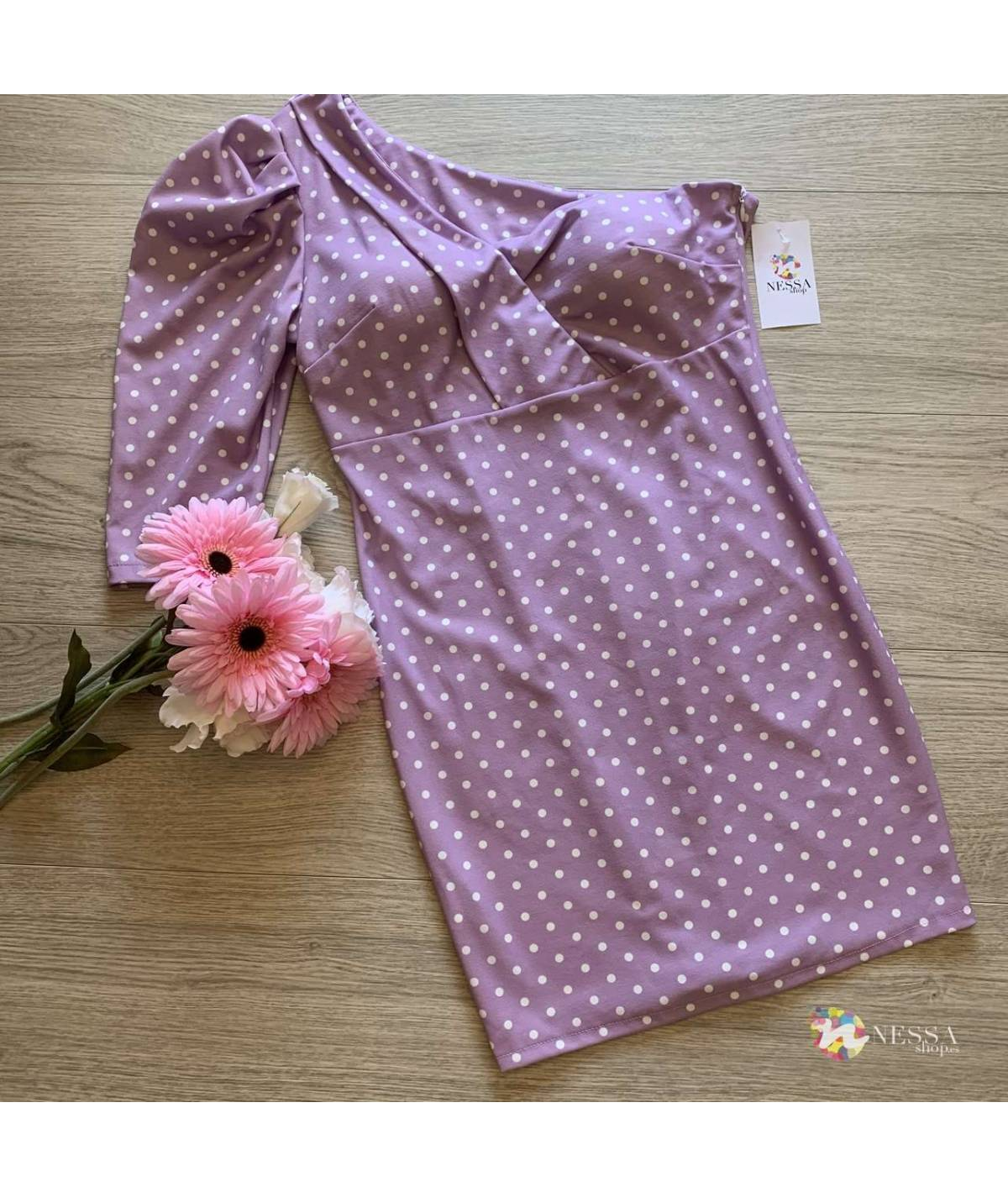Asymmetric polka dot dress